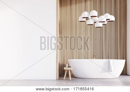 Bathroom With Lamps, Light Wood, Wall