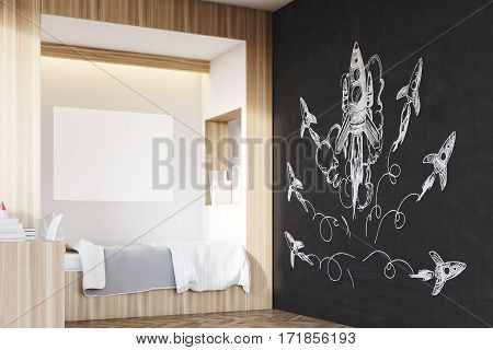 Room of a child with a large rocket sketch on a blackboard a horizontal poster hanging above a bed and a built in bookcase. Corner. 3d rendering mock up