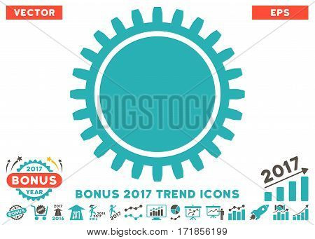 Grey And Cyan Cogwheel pictograph with bonus 2017 year trend pictograph collection. Vector illustration style is flat iconic bicolor symbols white background.