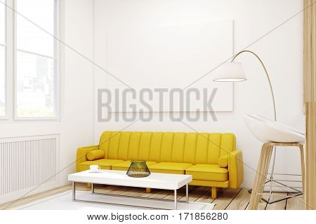 Close up of a living room interior with a yellow sofa a bar with stools and a large horizontal poster hanging on the wall. 3d rendering mock up