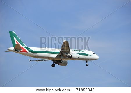 Amsterdam the Netherlands - July 21st 2016: I-BIKD Alitalia Airbus A320 approaching Polderbaan runway at Schiphol Amsterdam Airport arriving from Rome Italy