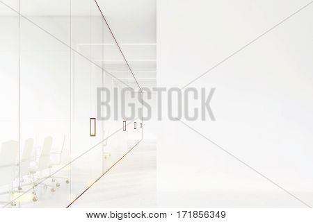 Office Corridor, White And Glass, Toned