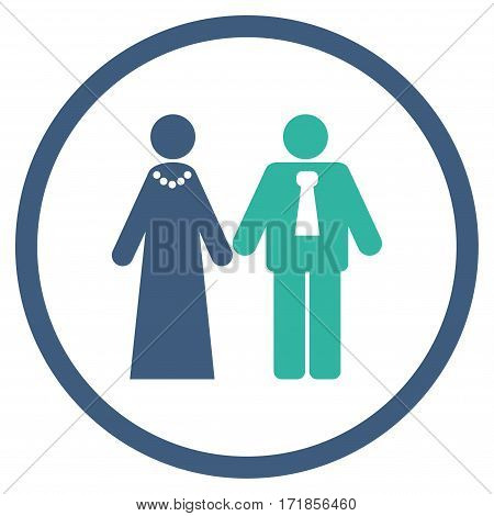 Newlyweds rounded icon. Vector illustration style is flat iconic bicolor symbol inside circle cobalt and cyan colors white background.