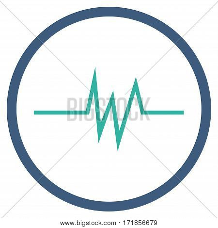 Pulse Signal rounded icon. Vector illustration style is flat iconic bicolor symbol inside circle cobalt and cyan colors white background.