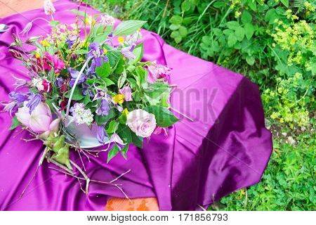 Details On Wedding Table, Setting Decorated In Rustic Style. Wedding Inspiration On Mountain.