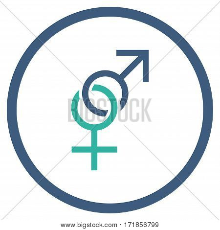 Sex Symbol rounded icon. Vector illustration style is flat iconic bicolor symbol inside circle cobalt and cyan colors white background.