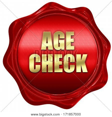 age check, 3D rendering, red wax stamp with text
