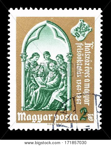 HUNGARY - CIRCA 1967 : Cancelled postage stamp printed by Hungary, that shows Teacher and pupils.