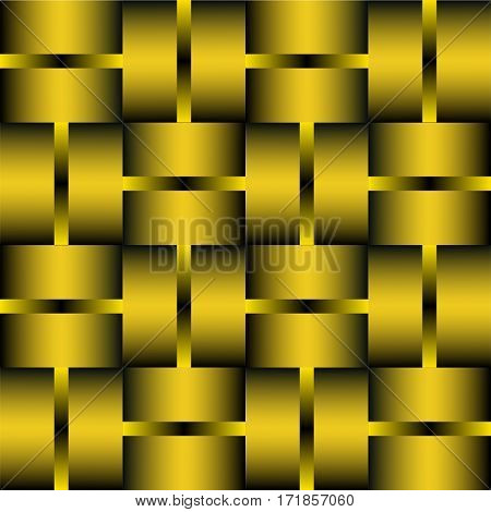 Decorative tile with golden or brass elements. Background in metal design. 3d optical art illusion.