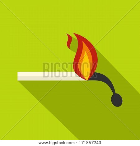 Burning match icon. Flat illustration of burning match vector icon for web