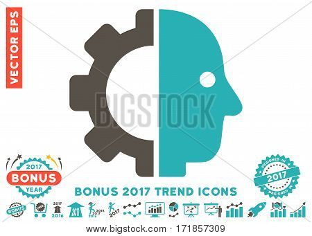 Grey And Cyan Cyborg Head pictograph with bonus 2017 trend pictures. Vector illustration style is flat iconic bicolor symbols white background.