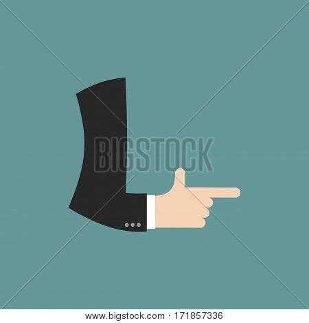 L Letter Businessman Hand Font. It Shows Finger Print. Arm Symbol Alphabet. Sign Of Abc