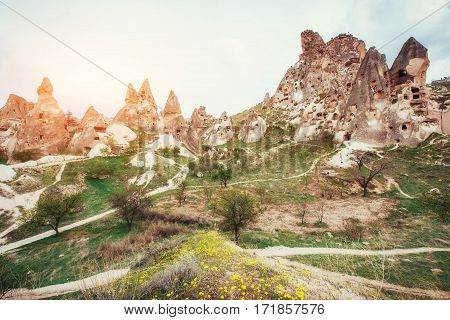 Unique geological formations in valley in Cappadocia, Central Anatolia, Turkey.