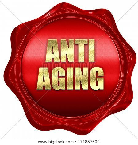 anti aging, 3D rendering, red wax stamp with text