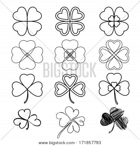 Set Leaf Clover. Three And Four Leaf, Silhouettes, Hand-drawn, Stylized. St. Patrick's Day - Stock V