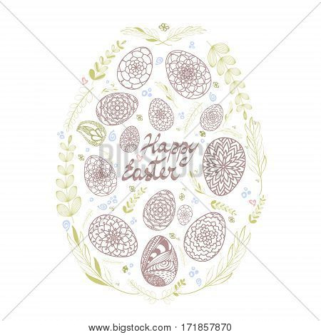 Decorative Card With Big Easter Egg Which Consists Of Small Hand Drawn Ornamental Eggs And Floral El