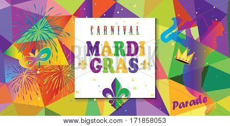 Mardi Gras Carnival, Music Festival, Masquerade poster, invitation design. Design with confetti, musicians, carnival mask, crown, fleur de lis symbols