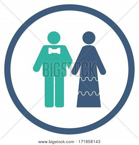 Wedding Persons rounded icon. Vector illustration style is flat iconic bicolor symbol inside circle cobalt and cyan colors white background.