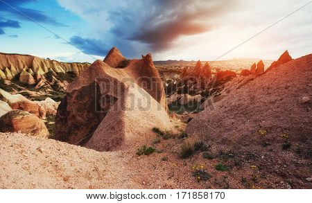 Amazing sunset over Cappadocia Turkey. Beauty world. Europe