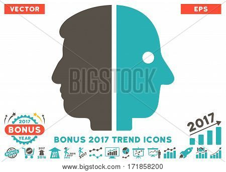 Grey And Cyan Dual Face icon with bonus 2017 trend pictograph collection. Vector illustration style is flat iconic bicolor symbols white background.