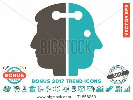Grey And Cyan Dual Head Connection pictograph with bonus 2017 year trend images. Vector illustration style is flat iconic bicolor symbols white background.