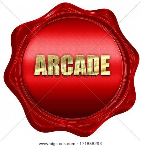 arcade, 3D rendering, red wax stamp with text