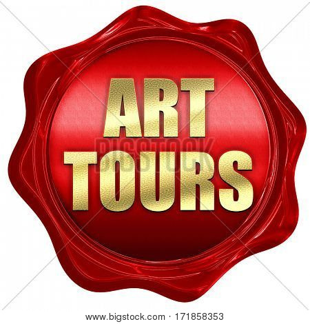 art tours, 3D rendering, red wax stamp with text