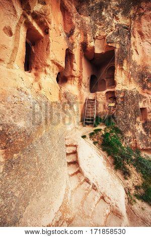 cave city in Cappadocia. Beauty world Turkey