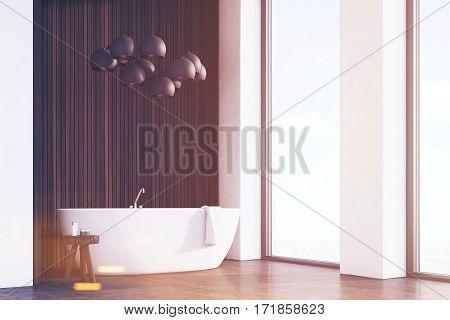 Bathroom With Lamps, Dark Wood, Corner, Toned