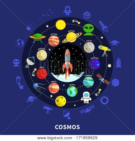 Cosmos concept with stars planets and exploration symbols flat vector illustration