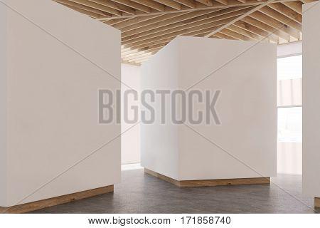 Art Gallery Gray Floor, Wooden Ceiling, Side