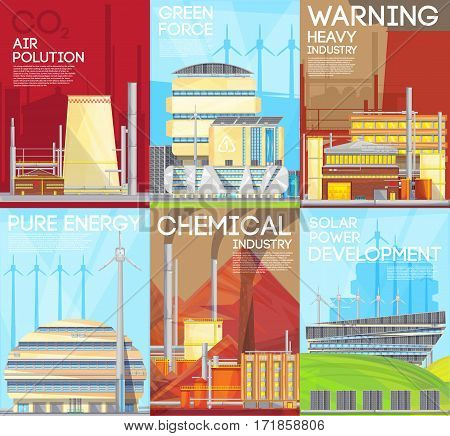 Green force environmental ecological durable solutions with air pollution warning 6 flat banners composition poster isplated vector illustration