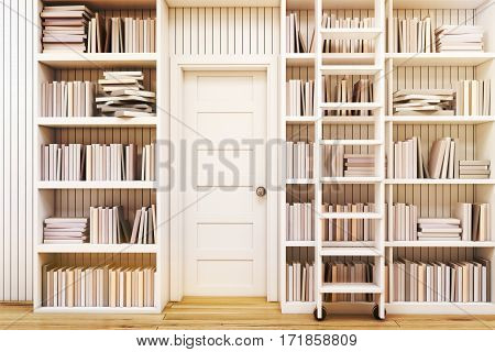 Home library interior with bookshelves by the sides of a door and a ladder to gain access to the book on high shelves. 3d rendering. Toned image