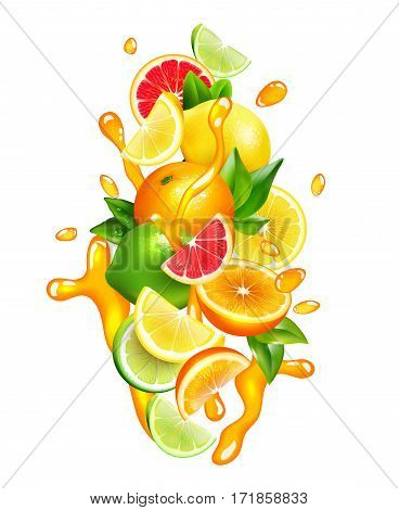 Fresh citrus fruits wedges slices and segment with orange juice splashes around colorful realistic composition vector illustration