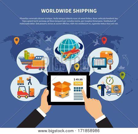 Flat colored logistic composition with buyer hands who use tablet and order delivery vector illustration