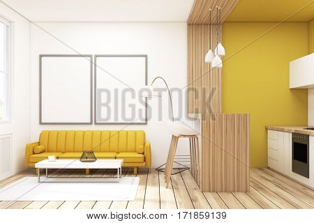 Living room interior with a yellow sofa a bar with stools and two large vertical posters hanging on the wall. 3d rendering mock up