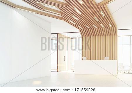 Corner of a room with a reception counter with two laptops. There is a meeting room with glass walls behind it. Brown pipes are lowering from the ceiling. 3d rendering. Mock up. Toned image.