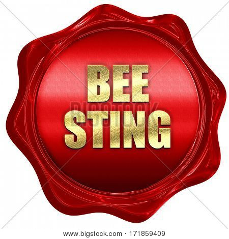 bee sting, 3D rendering, red wax stamp with text