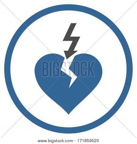 Break Heart rounded icon. Vector illustration style is flat iconic bicolor symbol inside circle cobalt and gray colors white background.
