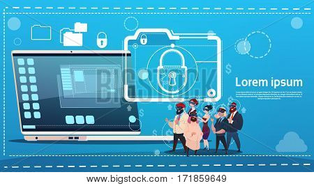 Business People Group Wear Digital Virtual Reality Glasses Laptop Lock Data Protection Concept Flat Vector Illustration