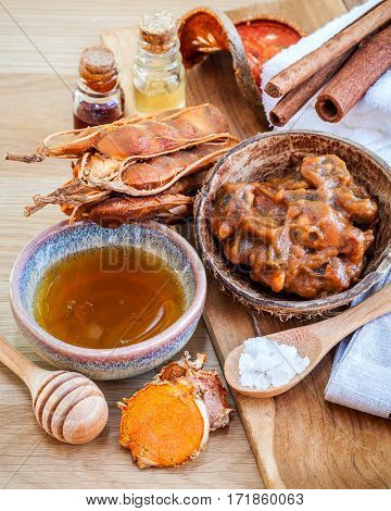 Homemade Skin Care And Body Scrub With Natural Ingredients Tamarind, Honey, Himalayan Salt ,turmeric