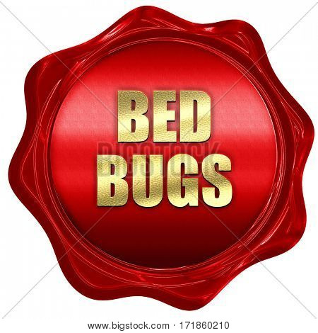 bed bugs, 3D rendering, red wax stamp with text