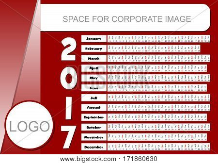 Template for corporate calendar 2017 in dark red color. Unusual calendarium in horizontally oriented strips place for company logo and text information
