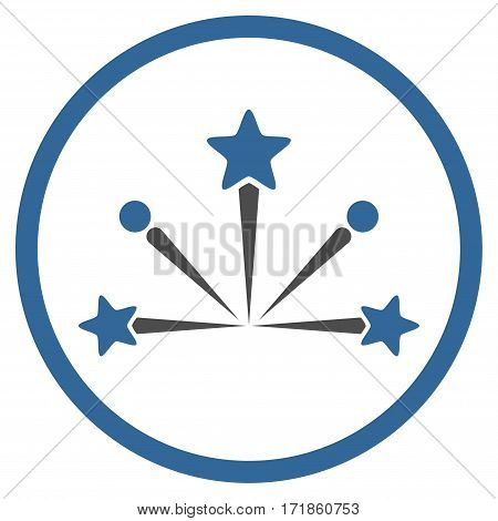 Fireworks Bang rounded icon. Vector illustration style is flat iconic bicolor symbol inside circle cobalt and gray colors white background.