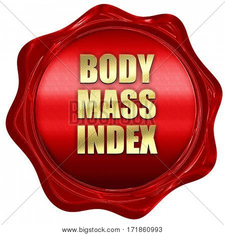 body mass index, 3D rendering, red wax stamp with text