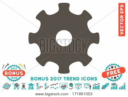 Grey And Cyan Gear pictograph with bonus 2017 trend pictograph collection. Vector illustration style is flat iconic bicolor symbols white background.