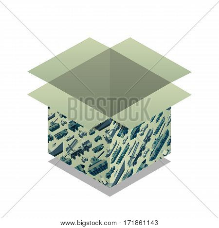 Gift box with pattern of military machines for 23 ot february. Present for day of defenders of fatherland. Isometric flat style. Vector illustration art.