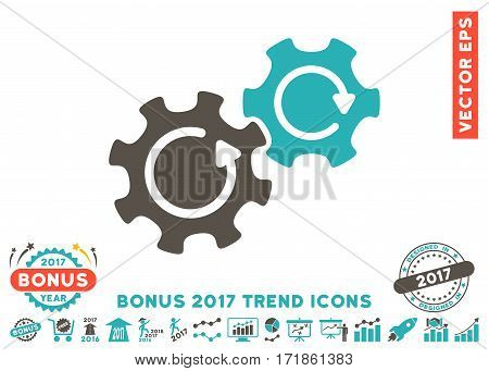 Grey And Cyan Gears Rotation pictograph with bonus 2017 trend design elements. Vector illustration style is flat iconic bicolor symbols white background.