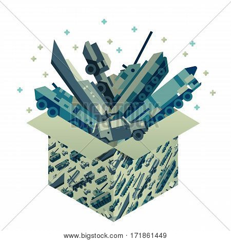Gift box with many mechanic toys of military machines for 23 ot february. Present for day of defenders of fatherland. Isometric flat style. Vector illustration art.