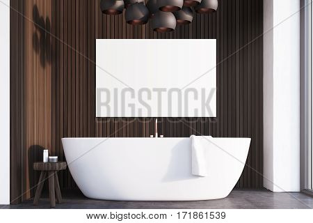Bathroom With Lamps, Dark Wood, Poster